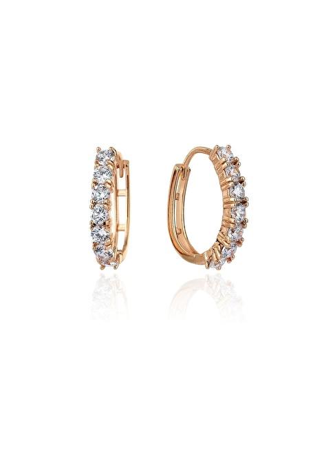 Tophills Diamond Co. 1,40 Ct Pırlanta Efekt  Altın Seventh Hoop Küpe Renkli